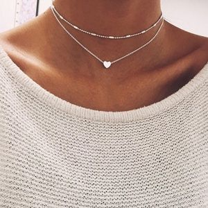 Jewelry - Heart Layered Choker in Silver Color